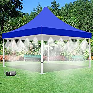 Mistcooling Tent with Pump and Tank - 160 PSI Mist Pump and 15 Gallon Tank with 20 Nozzle Mister - 10' x 10' Tent - For Outdoor Events Cooling (Blue)