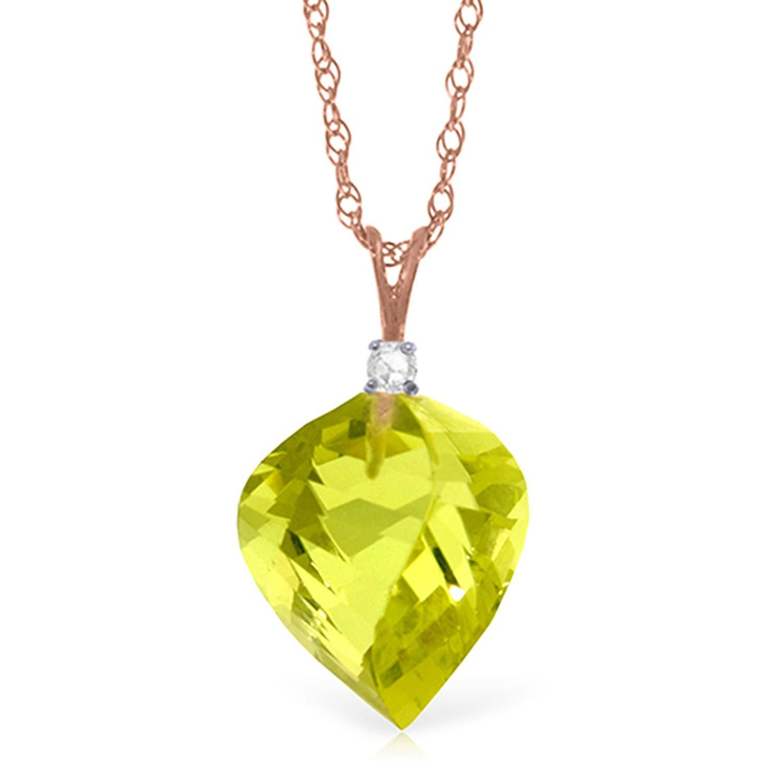 ALARRI 10.8 CTW 14K Solid Rose Gold Spiral Lemon Quartz Diamond Necklace with 18 Inch Chain Length