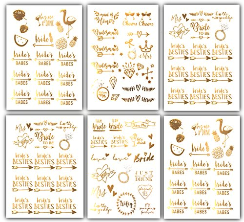 Team Bride Bachelorette Temporary Tattoos - 100 Bride Tribe Metallic Tattoo Boho Designs Gold Silver (6 Sheets) Bachelorettesy Zoe (Custom Rub On Transfers)