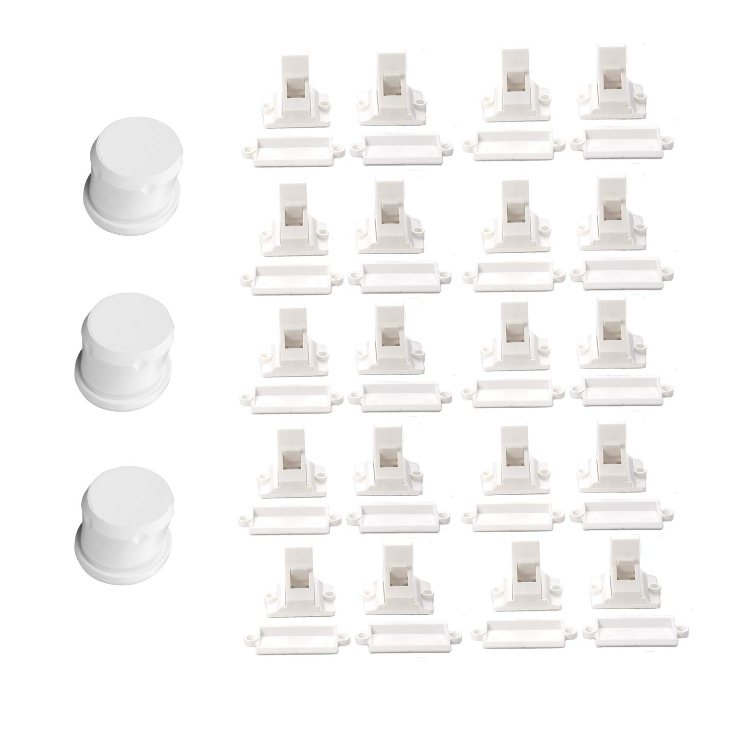 Magnetic Cabinet Locks Baby Proofing - Vkania 20 Pack Children Proof Cupboard Drawers Latches - 3M Adhesive Easy Installation