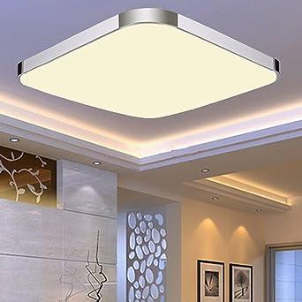 EtimeR LED Deckenleuchte Warmweiss Deckenlampe Modern Wohnzimmer Lampe Schlafzimmer Kche Panel Leuchte Silber 53x53cm