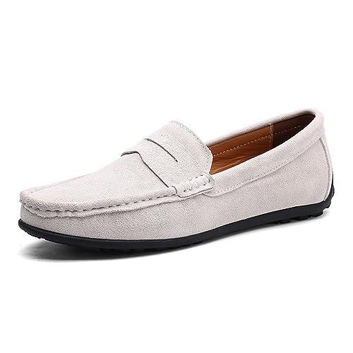c8047397fe7b9 VILOCY Hombres Hebilla Casual Ante Cuero Mocasines Slip Ons Conducción  Barco Mocasines Zapatos  Amazon.es  Zapatos y complementos