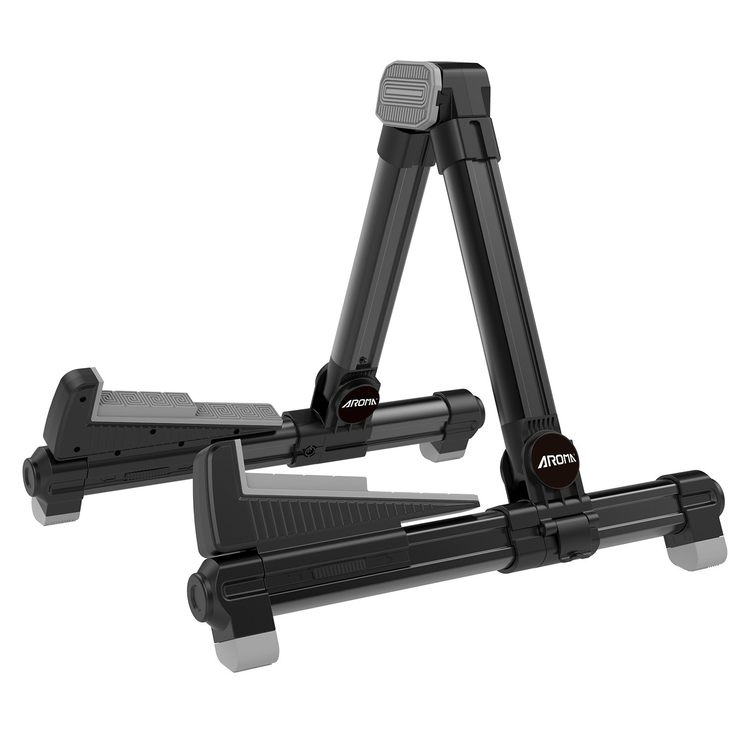 Guitar Stand Foldable Aluminum Floor Black AGS8 Adjustable for All Types of Guitars and Basses Foldable to Easily Carry Steady Stand Safe Protection by Aroma