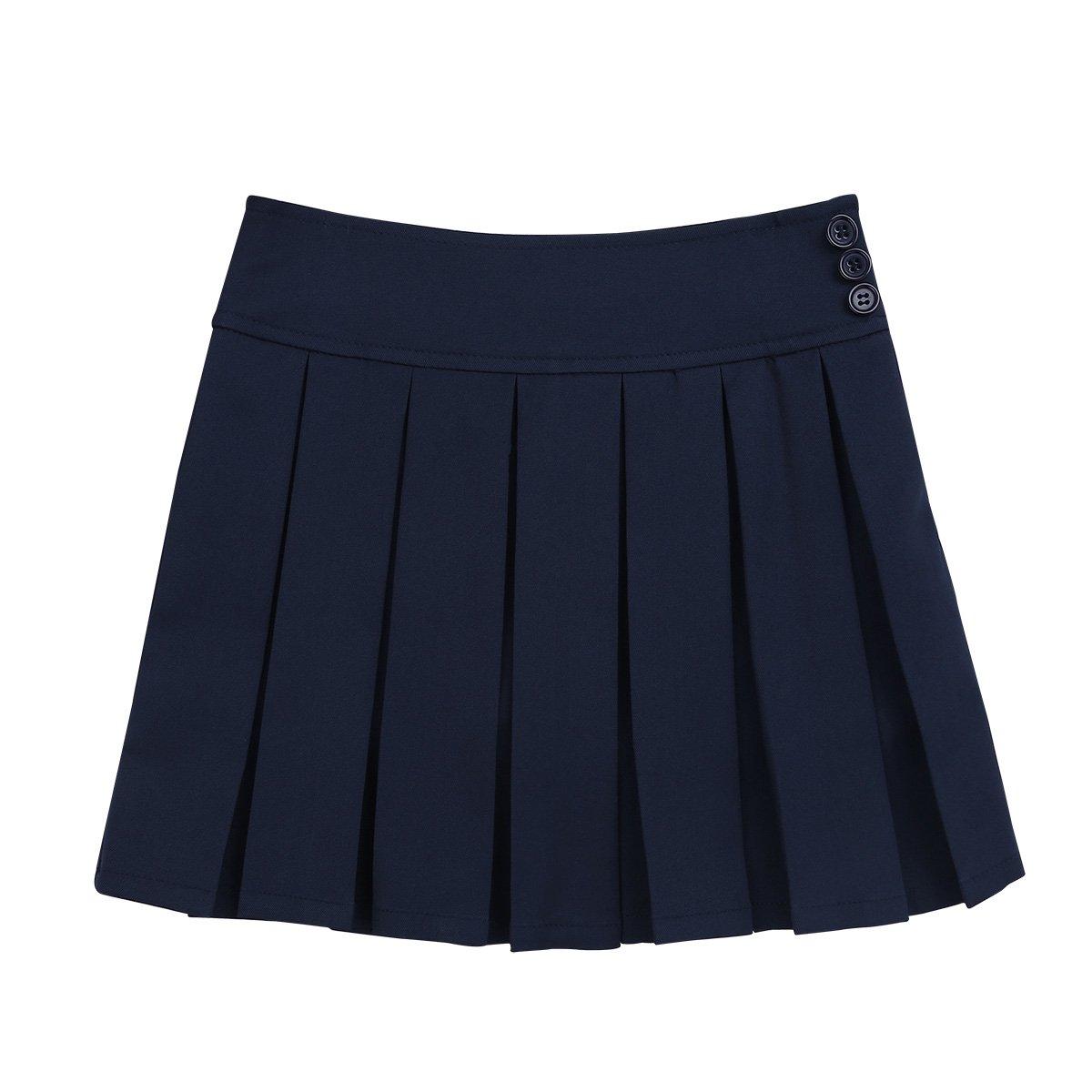 TiaoBug Kids Girls School Uniform Pleated Side Zipper Buttons Scooter Skirt with Hidden Shorts Navy Blue(Side Zipper Buttons) 14