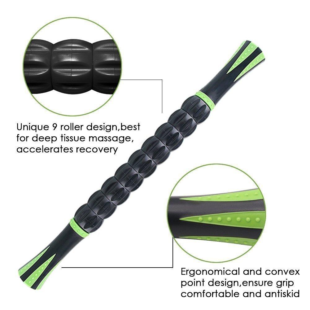 Angker Rodillo de masaje para atletas, 45,72 cm, para aliviar el dolor muscular, los calambres y la rigidez, ayuda a recuperar las piernas y la ...