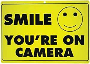New SMILE YOU'RE ON CAMERA Yellow Business Security Sign CCTV Video Surveillance - ONE SIGN