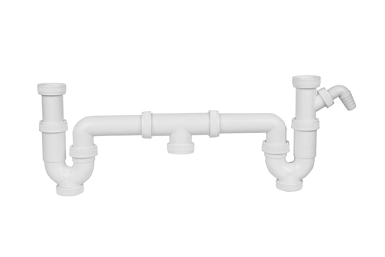 Aqualy BO-41332 Sif/ón doble fregadero con toma