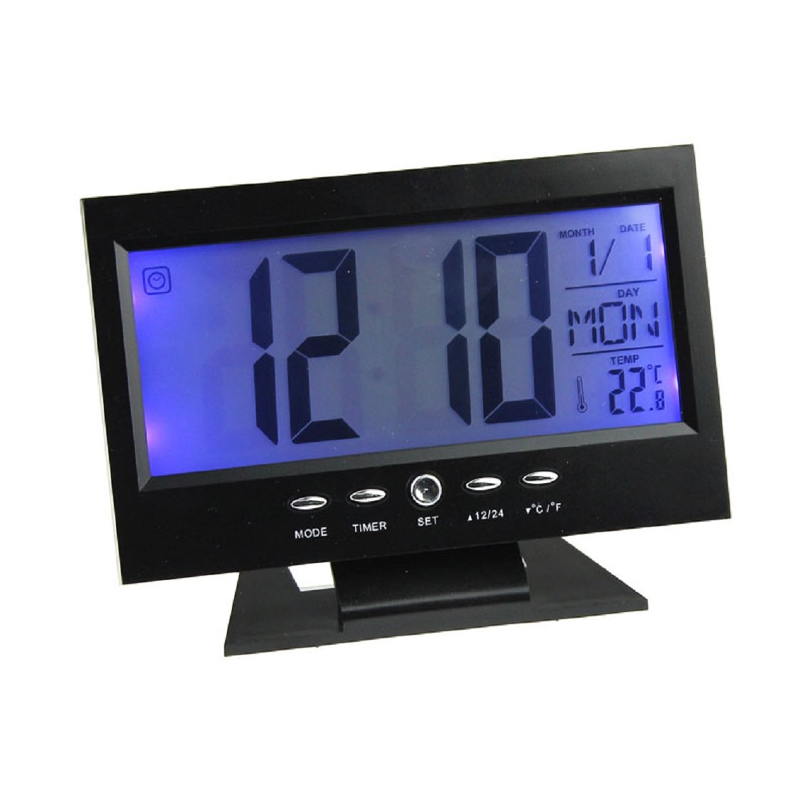 Willtoo(TM) LED Creative Digital Alarm Clock Light Control Backlight Time+Calendar Desk Clocks (Black)
