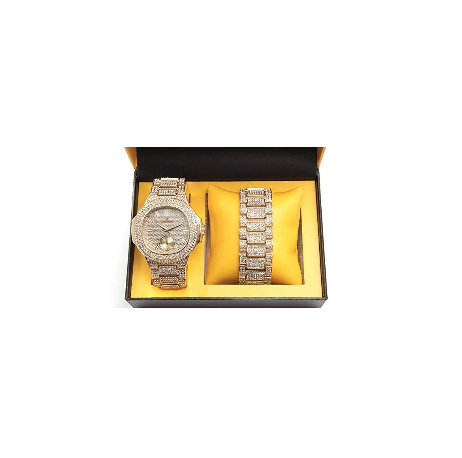 ICE BOX Cuban Link Bracelet & AP Watch Set. Gold Bust Down CZ Diamonds Watch. Hip Hop Rapper Jewelry Rollie Cuban Bling Bracelet. Mille AP Watch by ICE BOX (Image #1)