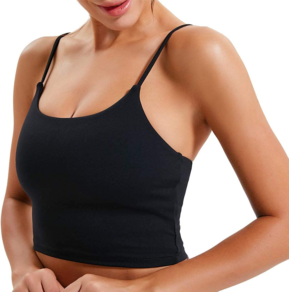 Burpada Women Longline Padded Sports Bra Strappy Crop Tank Tops Wireless Cami Shirt Fitness Yoga Workout Running