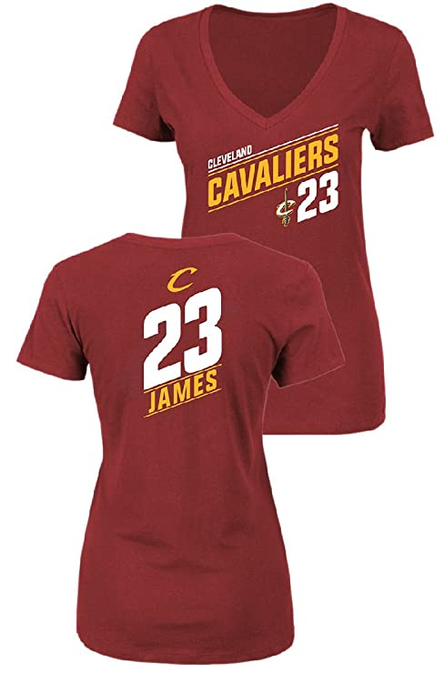 VF Ladies Lebron James Cleveland Cavaliers Solid Recruit V Neck T Shirt  (Small) 172223be5