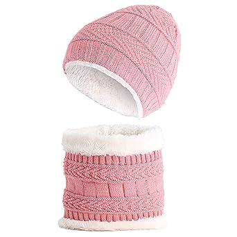 1e777516e2c6 Moonuy 2pc Enfants Bonnet Au Crochet Fourrure en Laine Tricot Bonnet Raton  Laveur Casquettes + Foulard