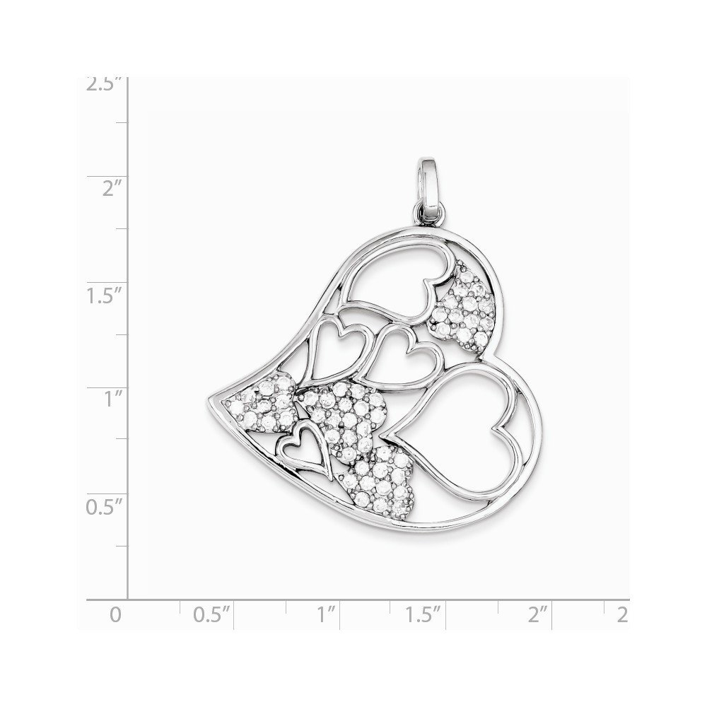 Jewelry Stores Network CZ Pendant in 925 Sterling Silver 45x40mm