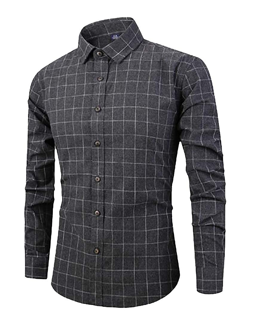 Jofemuho Men Regular Fit Plaid Print Long Sleeve Casual Lapel Button Up Dress Shirt