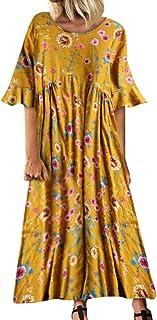 Women's Plus Size Floral Boho Maxi Dress Trumpet Sleeve O-Neck Summer Casual Vintage Sleeveless Floaty Long Dresses