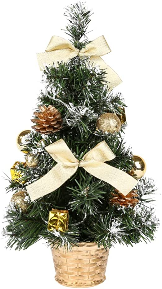 40 CM Tabletop Artificial Small Christmas Tree With LED Lights /& Ornaments Decor