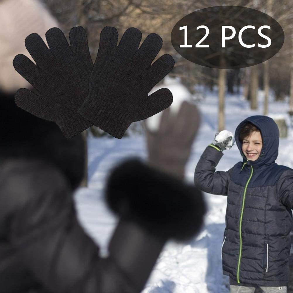for Children Winter Outdoors Playing Skiing Nicemeet 12 Pairs Kids Winter Warm Magic Gloves Elastic Knitting Gloves Black