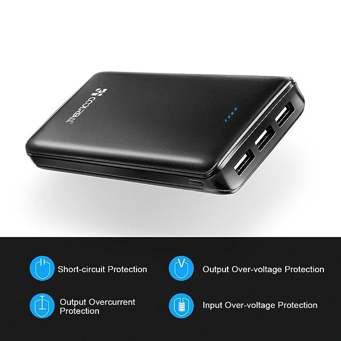 [Versión Mejorada] Batería Externa Banco de Energía, Coolreall 20000mah Power Bank 3 Puertos con Indicador LED, Cargador Movil Portátil para iPhone ...
