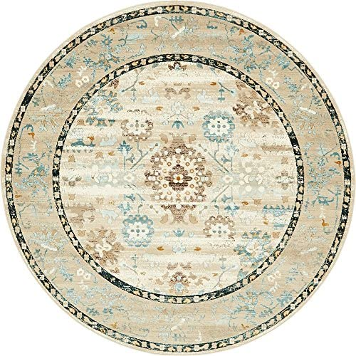 Unique Loom Cambridge Collection Traditional Distressed Vintage Beige Round Rug 6 0 x 6 0