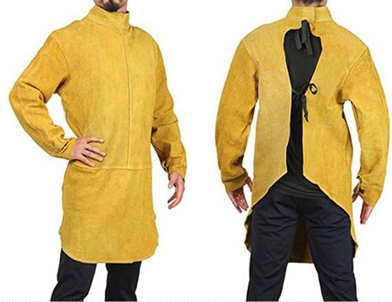 Delantal de cuero piel Chaqueta soldador Ropa Soldadura Ropa seguridad Proteccion trabajo Delantal piel Cuero: Amazon.es: Bricolaje y herramientas