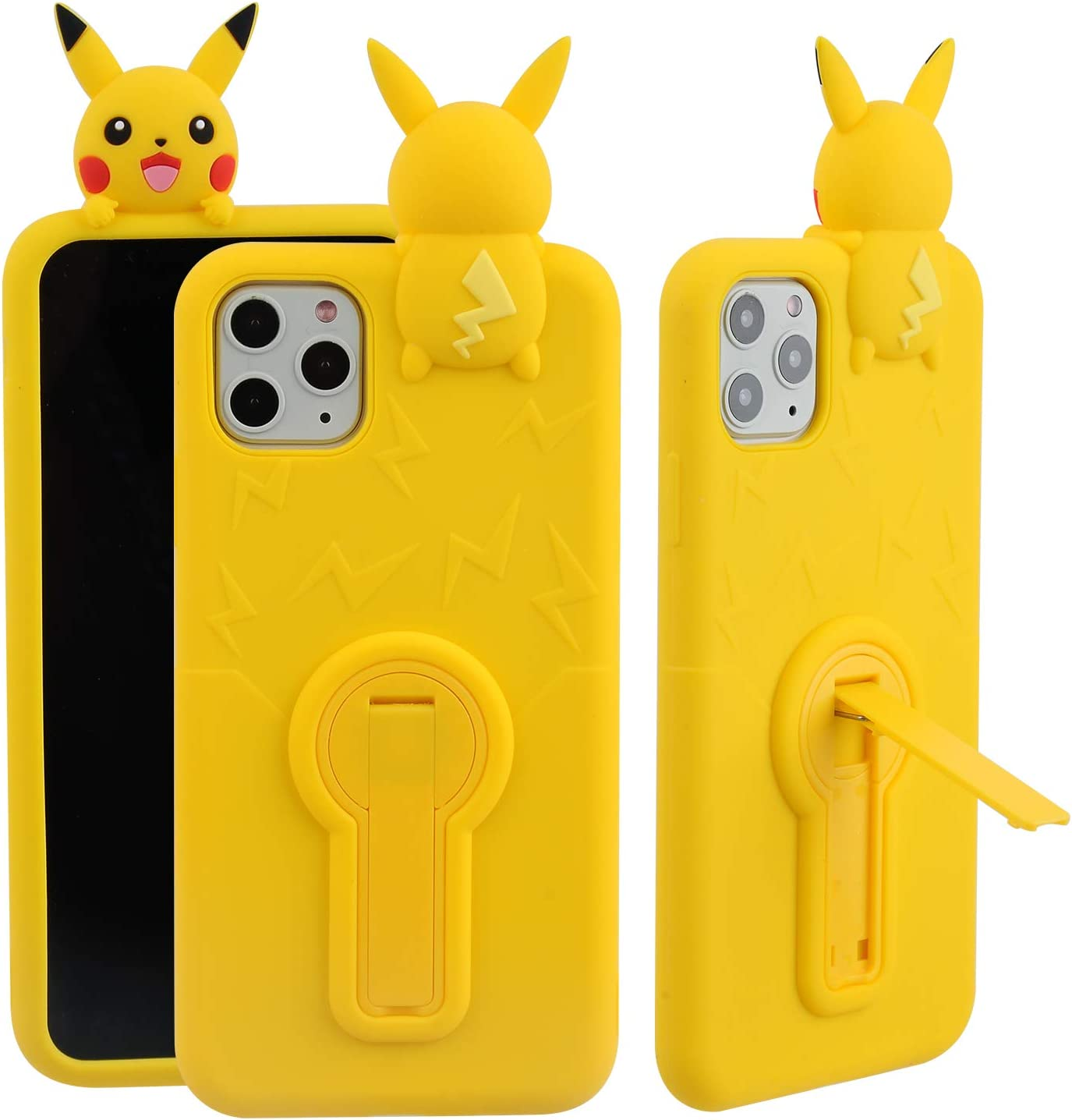 "Phenix Color Pikachu Case for iPhone 11 Pro Max 6.5"", Kickstand 3D Cute Cartoon Soft Silicone Rubber Protective Cover,Kawaii Animated for Kids Child Teens Girls (Pikachu, iPhone 11 Pro Max 6.5"")"
