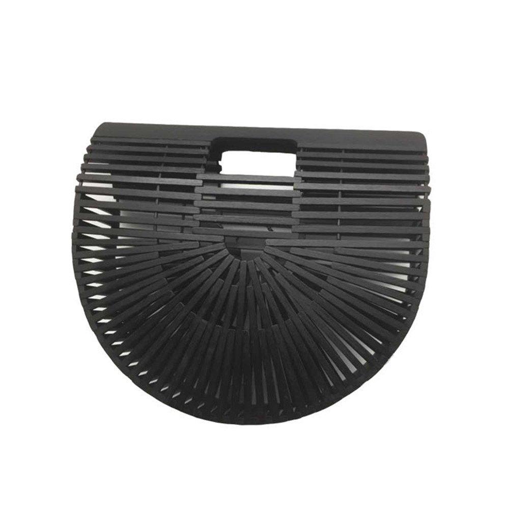 GWQGZ Handgemachte Bambus Handtasche, Strandtasche, Freizeittasche, Schwarz B07F3ZNJ3Q Schultertaschen Abgabepreis
