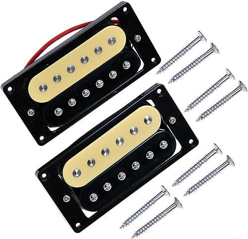 Kmise Zebra Faced Humbucker Double Coil Pickups For Electric Guitar Pickup (Black & Cream)