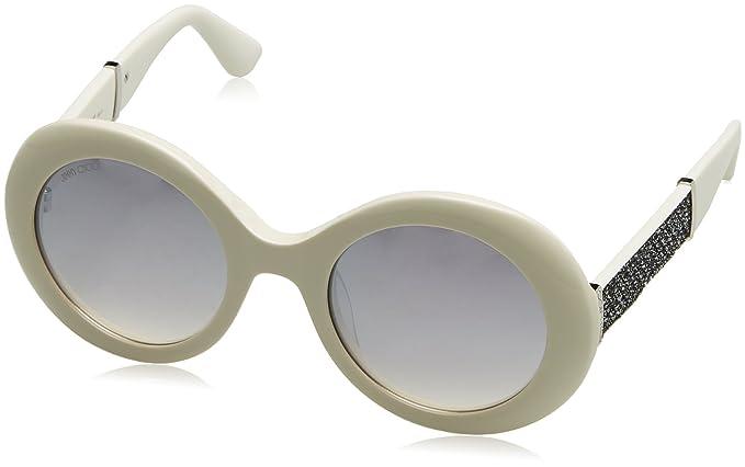 e5e7ce6d180 Image Unavailable. Image not available for. Colour  Jimmy Choo Plastic Oval  Sunglasses 51 0KLQ White Glitter White FU violet ...