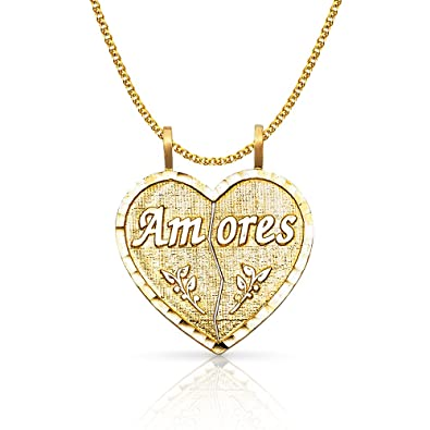 14K Two Tone Gold I Love YouI Heart U Charm Pendant with 1.5mm Flat Open Wheat Chain Necklace