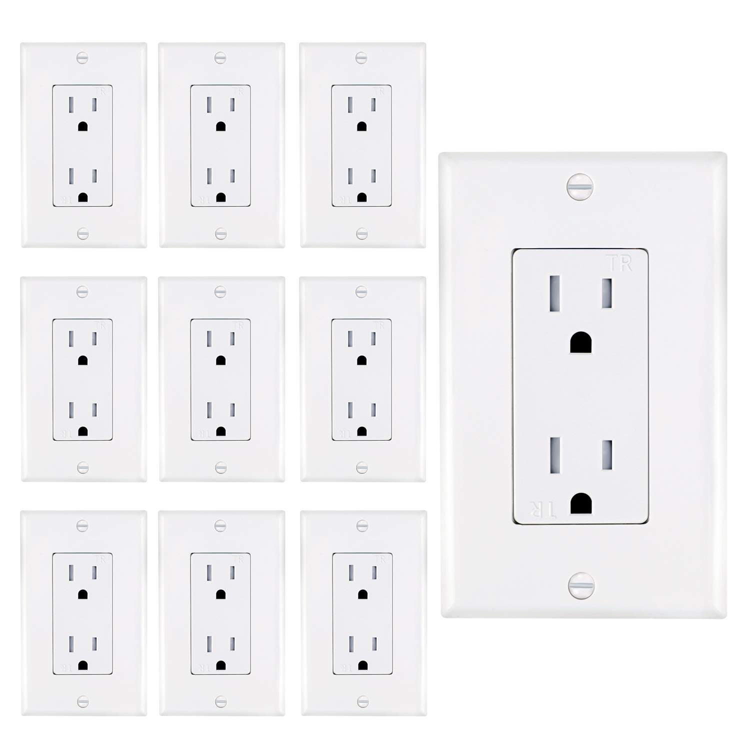 AbboTech 15A Tamper Resistant Duplex Receptacle Standard Wall Outlet Decorative Electrical Outlet, Child Proof Safety,Wall Plates Included, White, UL listed.