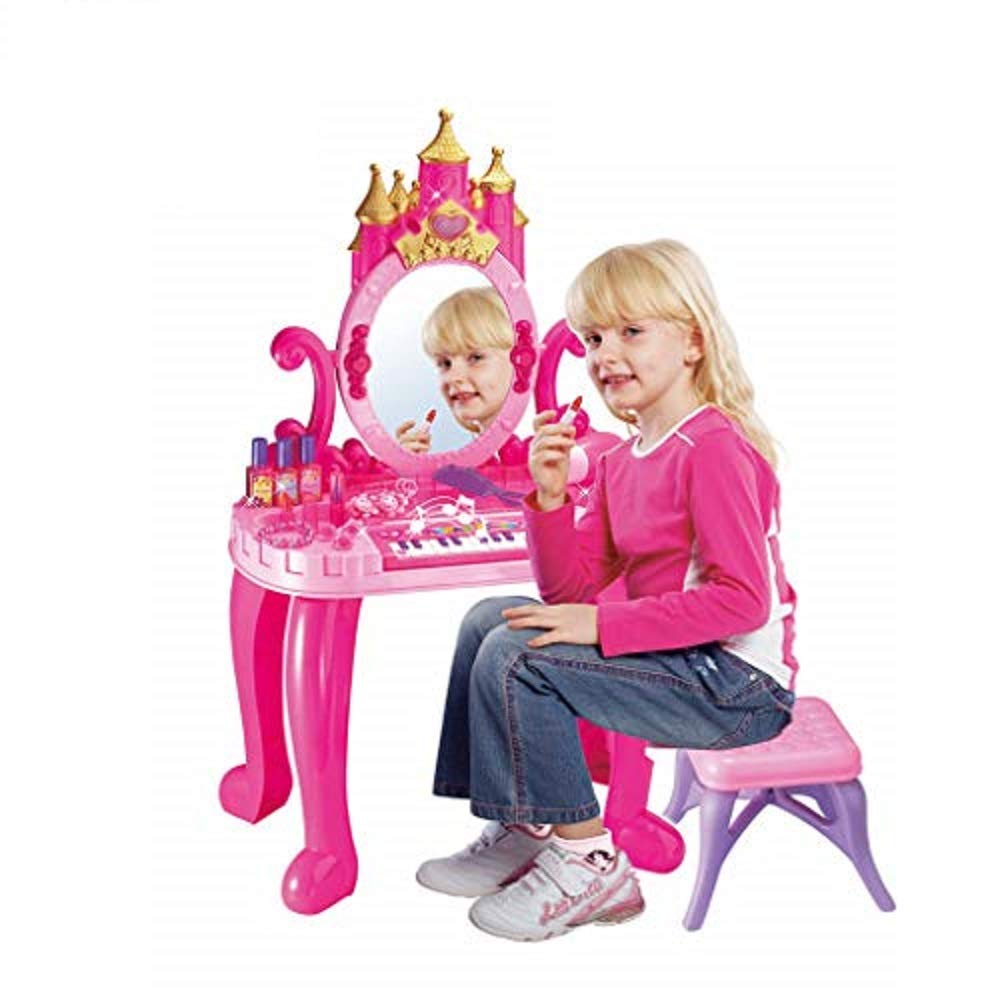 2-in-1 Vanity Table and Chair Beauty Play Set, with Multifunctional Piano Dresser Table & Makeup Accessories, Comb, Hair Bands and Hair Dryer for 2,3,4 Yeards Old Kids by Bieay