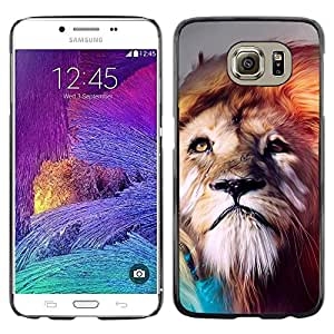Smartphone Rígido Protección única Imagen Carcasa Funda Tapa Skin Case Para Samsung Galaxy S6 SM-G920 Lion abstract Majestic Cat / STRONG