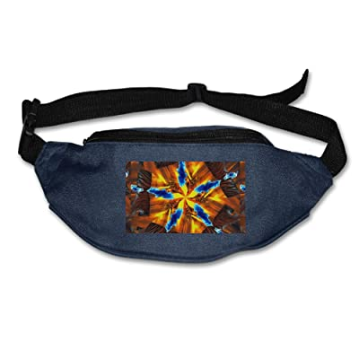 Unisex Pockets Kaleidoscope Pattern Fanny Pack Waist / Bum Bag Adjustable Belt Bags Running Cycling Fishing Sport Waist Bags Black high-quality
