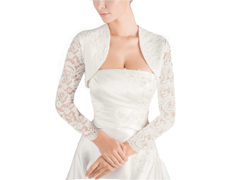 GEORGE BRIDE Women's Short Sleeve Satin Bridal Wedding Jackets Shawl (XL-long Sleeve, Ivory)