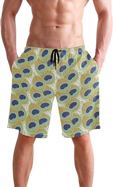 Peacock Feather Swim Shorts Mens Swim Trunks Beach Shorts Board Shorts