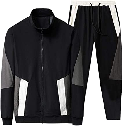 GenericMen Athletic Long Sleeve Stand Up Collar Sweatshirt and Long Pants Tracksuit