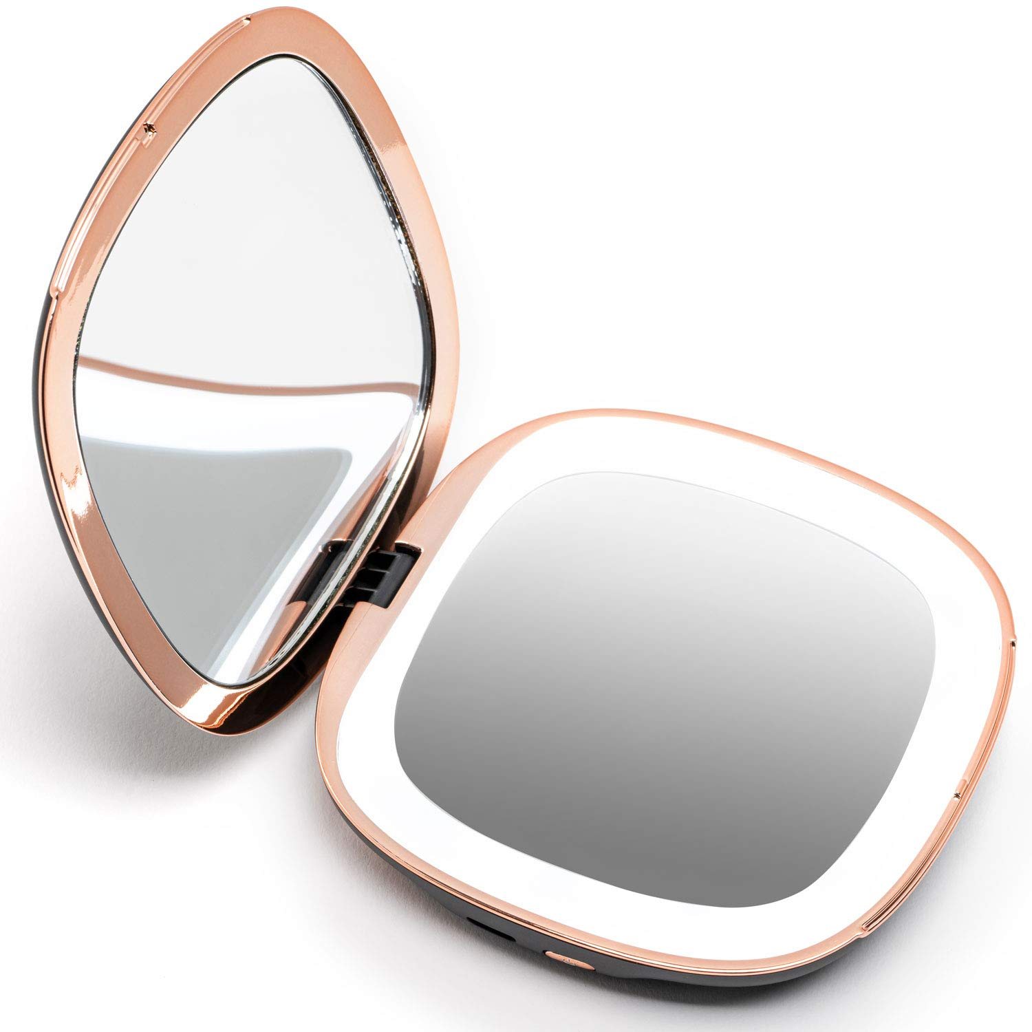 Fancii Compact Makeup Mirror with Natural LED Lights, 1x 10x Magnifying – Rechargeable, Portable, Lighted 4 Hand Mirror for Travel and Purses Mila Black