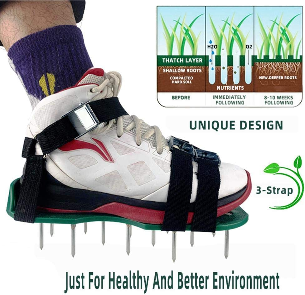 Lawn Aerator Shoes Spiked Aerating Lawn Sandals with Spikes Heavy Duty Ripper Gardening Tool 8 Adjustable Straps Lawn Shoes for Lawn Garden Universal Size