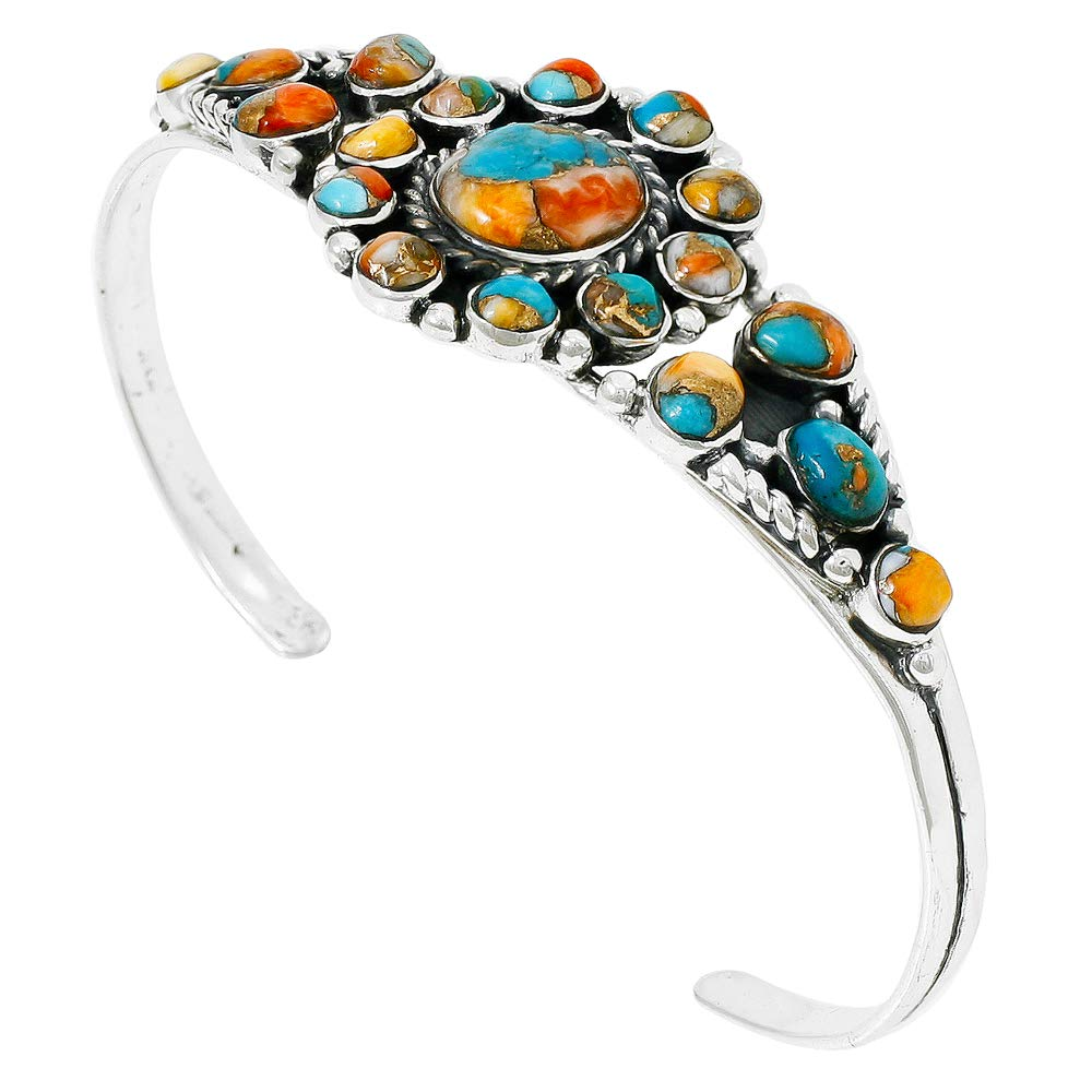Spiny Turquoise Bracelet Sterling Silver 925 Genuine Turquoise & Spiny Oyster (Choose Style) (Sunburst) by Turquoise Network