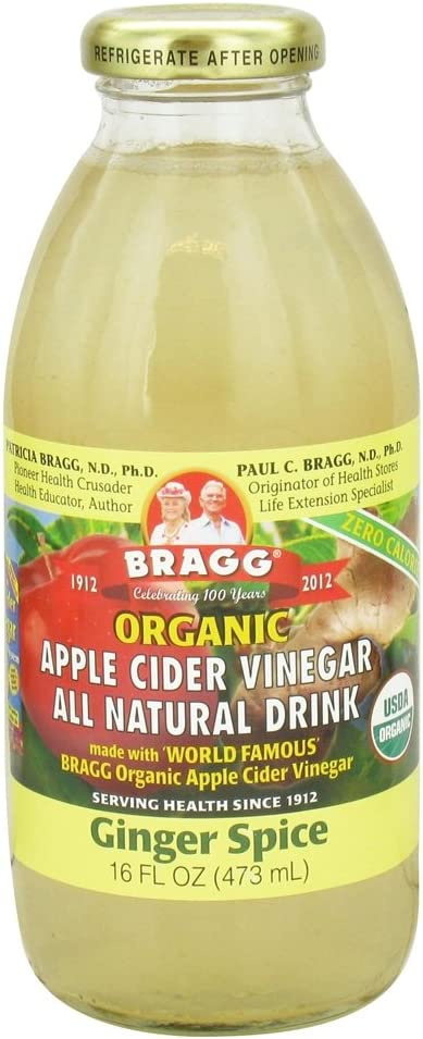 Bragg - Organic Apple Cider Vinegar All Natural Drink Ginger Spice - 16 oz. (Pack of 2)