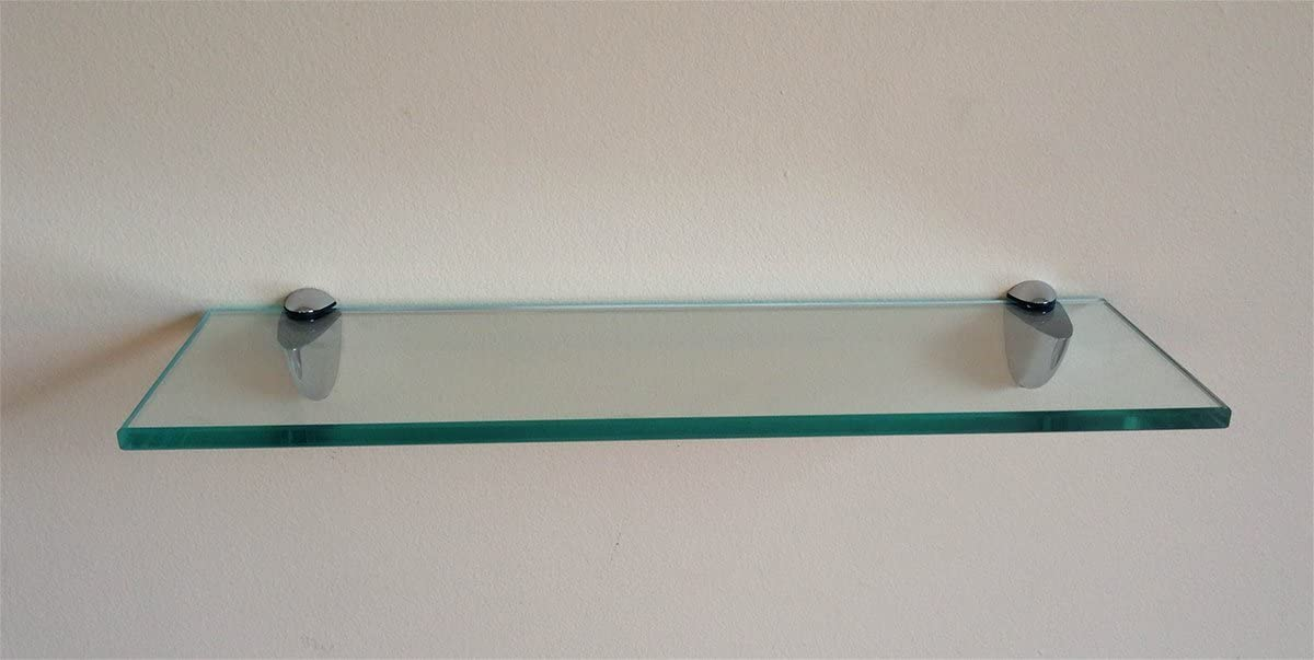 Fab Glass and Mirror Rectangle Floating Shelf Kit 8 X 36 -Clear Glass Shelves,