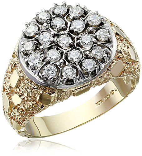 Men's 10k Two-Tone Gold with Nugget Sides Diamond Cluster...
