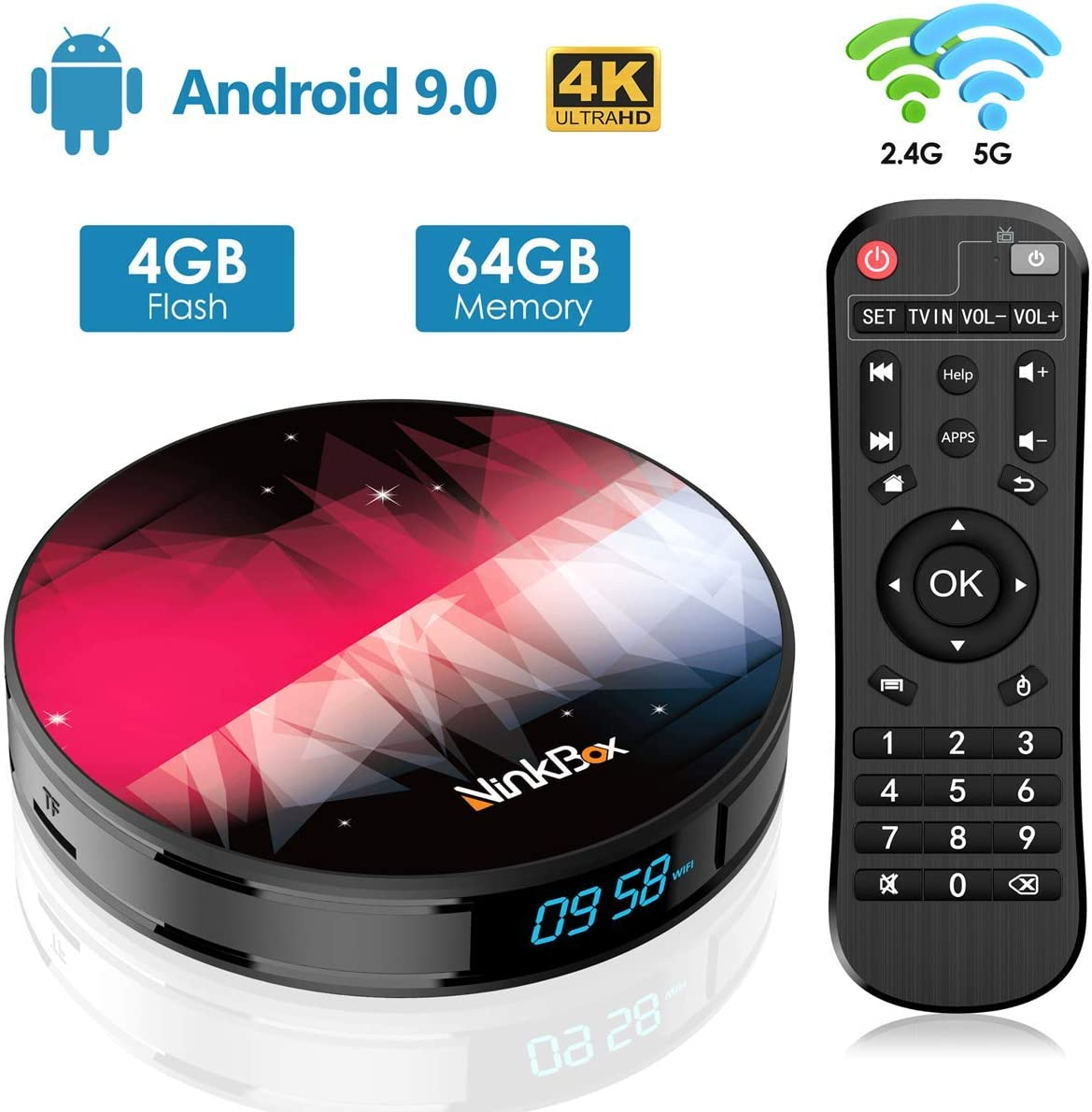 Android 9.0 TV Box【4GB RAM+64GB ROM】 NinkBox N2 Plus RK3318 Quad-Core 64bit Cortex-A53, Android TV Box WiFi 2.4G/5G, 3D Ultra HD 4K, USB 3.0, BT 4.0 Smart TV Box