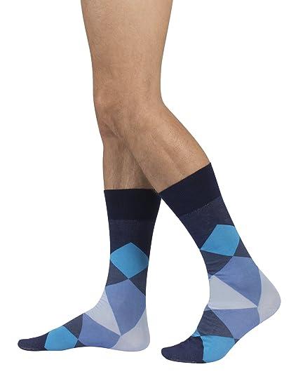 Calcetines de Algodón para Hombre | Calzetines Comodos y Elegantes | Diseños de Rombos | Azúl