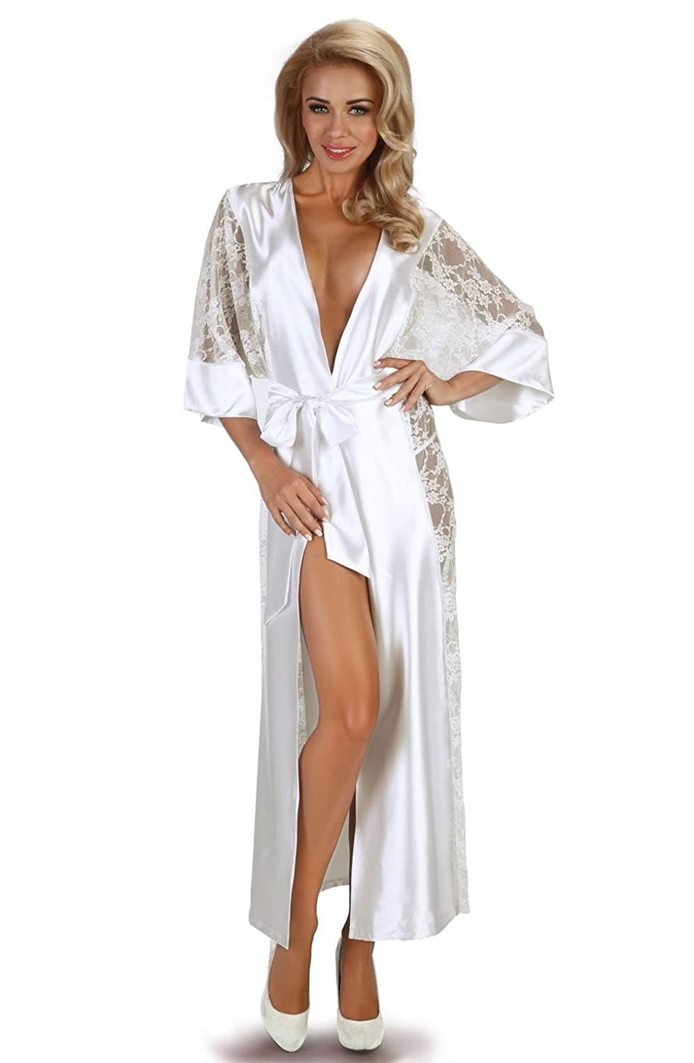 01faf6b580 Ladies Adult Full Length Satin Bridal White Dressing Gown Robe Nightdress  Matching Thong 8 10 12 14 16 UK  Amazon.co.uk  Clothing