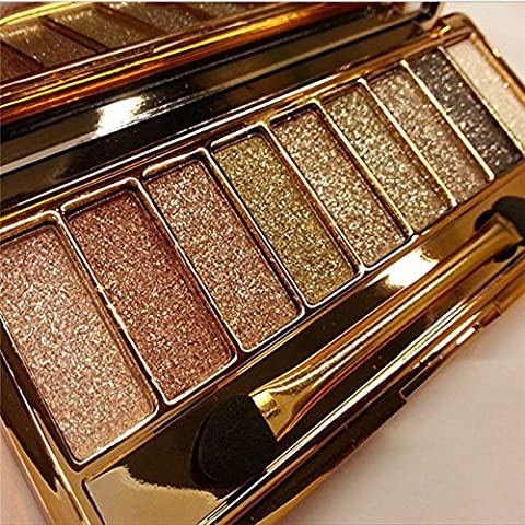 9 colors Diamond Bright Colorful Makeup Eyeshadow super Make up set flash Glitter Nk eye shadow Palette with (Nine Naturals Conditioner)