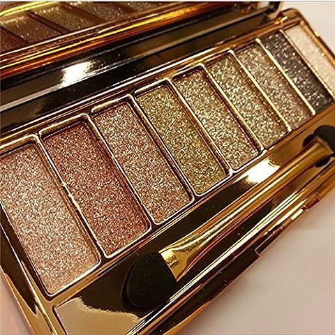9 colors Diamond Bright Colorful Makeup Eyeshadow super Make up set flash Glitter Nk eye shadow Palette with - 9 Junior Liquid
