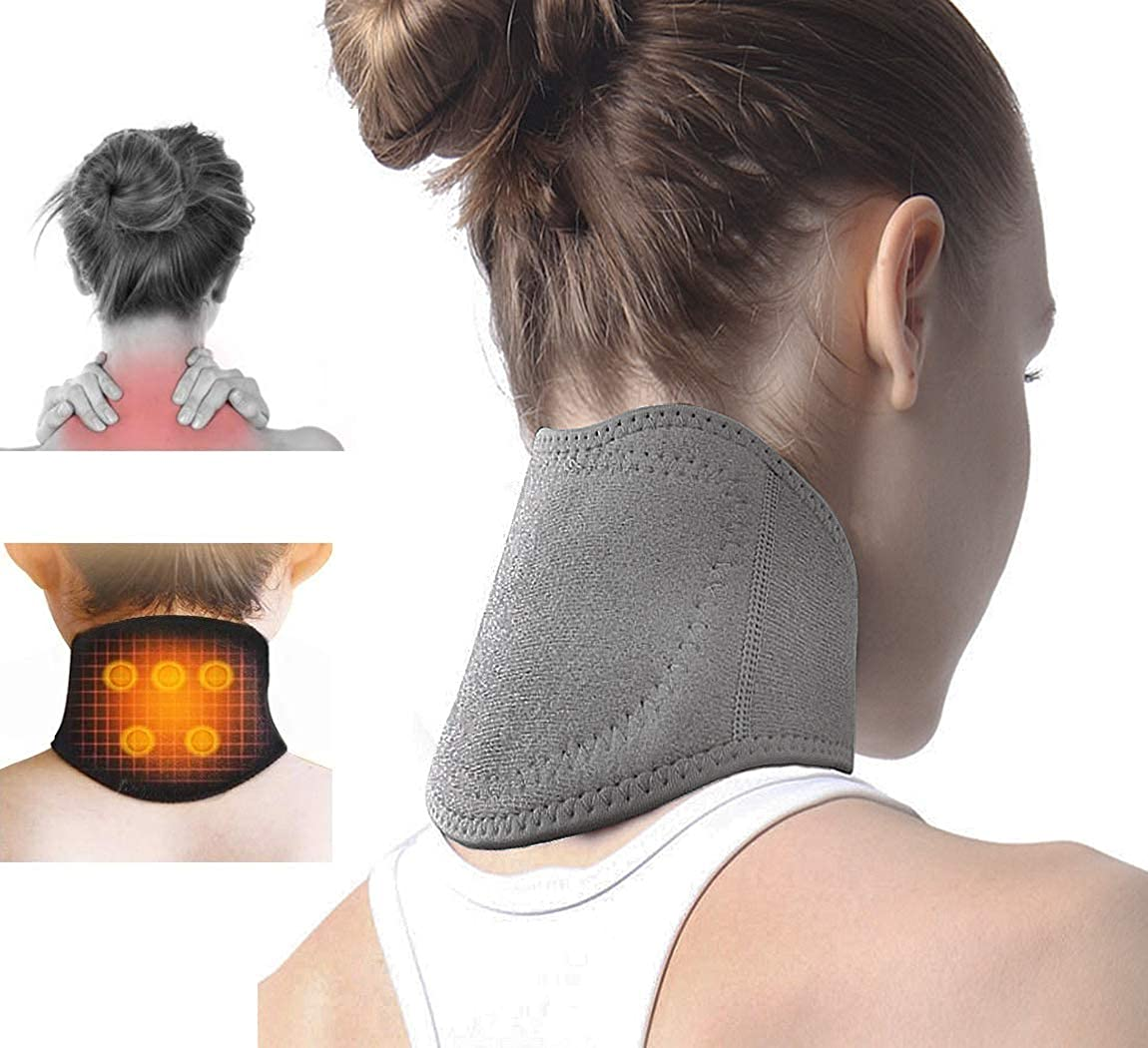 IPENNY Neck Support Brace with with Self Heating Magnets & Tourmaline Adjustable Cervical Collar Neck Pad for Neck Stiff Pain Relief Headache Migraines Rheumatoid and Osteoarthritis