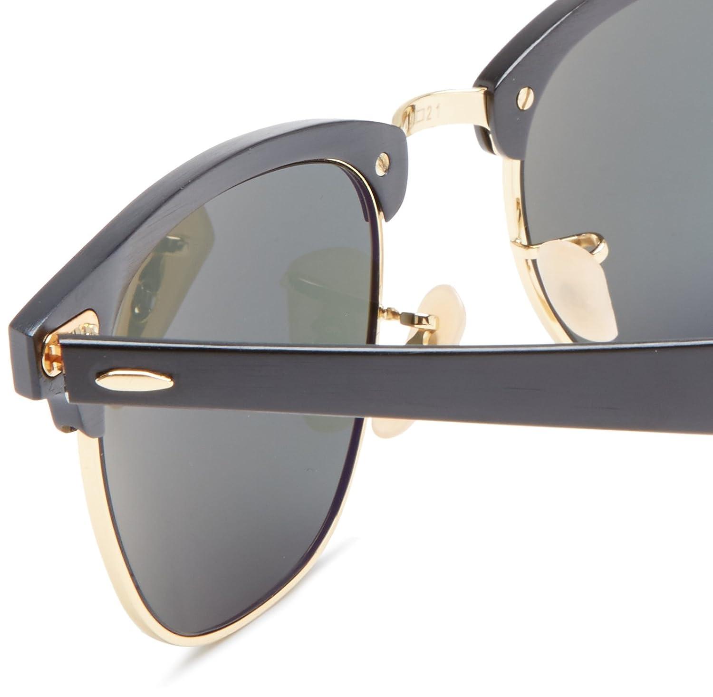 Amazon.com: Ray-Ban CLUBMASTER ALUMINUM - BLACK/ARISTA Frame POLAR GREEN Lenses 49mm Polarized: Ray-Ban: Clothing