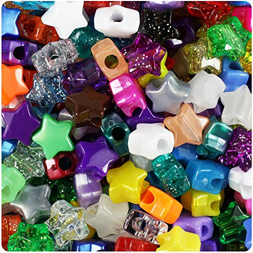 - BEADTIN Randomly Mixed 13mm Star Pony Beads (250pc)